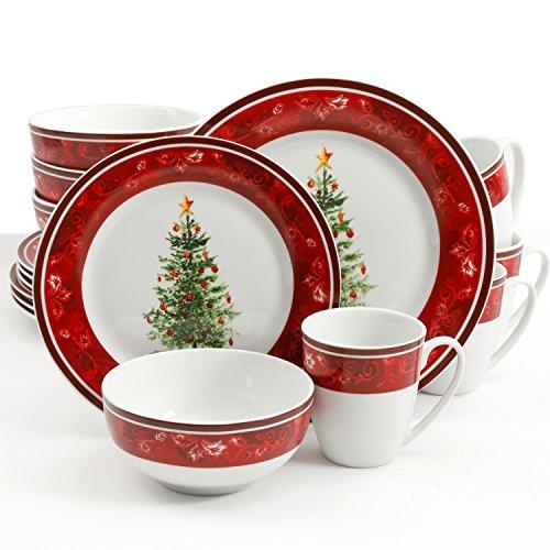 Gibson Home Noel Nostalgia 16 Piece Dinnerware Set - (Christmas Theme Dishes) - Set Includes: 4 Dinner Plates, 4 Dessert Plates, 4 Bowls, 4 Mugs (Christmas Dishes compare prices)