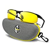 BLUPOND Night Driving Glasses - Semi Polarized Yellow Tint HD Vision Anti Glare Lens - Unbreakable Metal Frame with Car Clip Holder - Knight Visor (MetalBlack, Yellow) (Color: MetalBlack, Tamaño: Large)