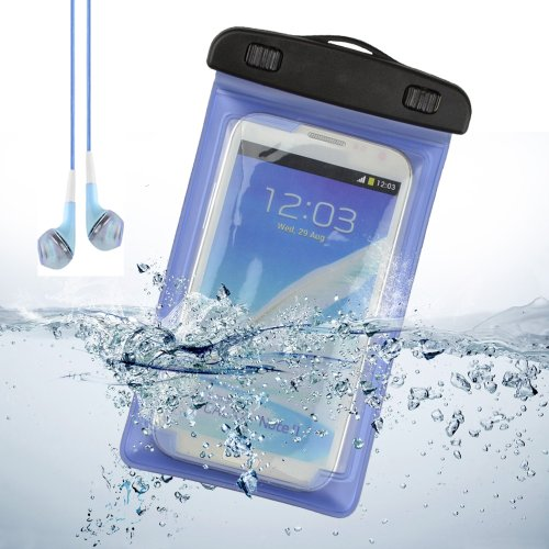 Underwater Waterproof Case Bag Pouch With Armband For Samsung Galaxy Note 3 / Note 2 / S5 / S4 / Sony Xperia Z2 / Lg + Vangoddy Headset With Mic (Blue)