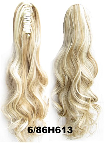 "A.H New 22"" Long Clip In Curly Pony Tail Synthetic Human Made Hair Extensions Wigs 170G #6/86H613"