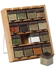 Kamenstein 16-Cube Bamboo Inspirations Spice Rack with Leaf Labels by Kamenstein
