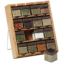 Kamenstein Bamboo Inspirations 16-Cube Spice Rack with Free Spice Refills for 5 Years by Kamenstein