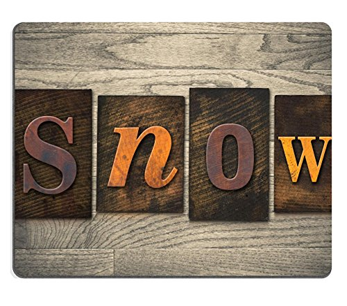Luxlady Gaming Mousepad IMAGE ID: 35333401 The word SNOW written in wooden letterpress type