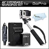 GoPro Hero 3+ Pole Mount Kit Includes 43 Inch Lightweight Extendable Pocket Size Hand Held Monopod Extender (Folds...