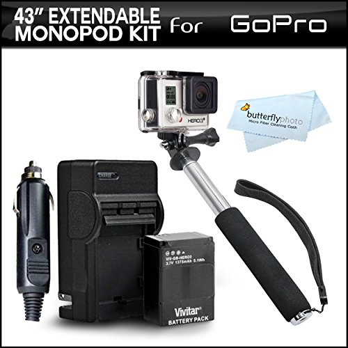 Gopro Hero 3+ Pole Mount Kit Includes 43 Inch Lightweight Extendable Pocket Size Hand Held Monopod Extender (Folds 8.5 - 43 In.) Includes Tripod Adapter For Gopro Hd Hero3+, Hero3 + Replacement Battery And Charger For Gopro Ahdbt-201, Ahdbt-301, Ahdbt-302