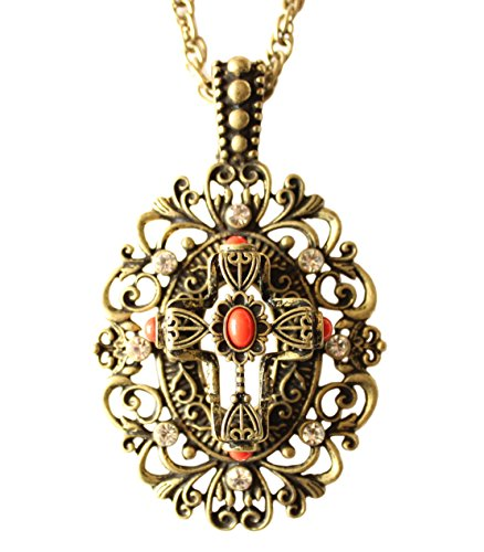 Snail&Hawk Fashion Retro Long Necklace Vogue Chains Pendant Cross Inlayed with Rhinestone Alloy Color Golden