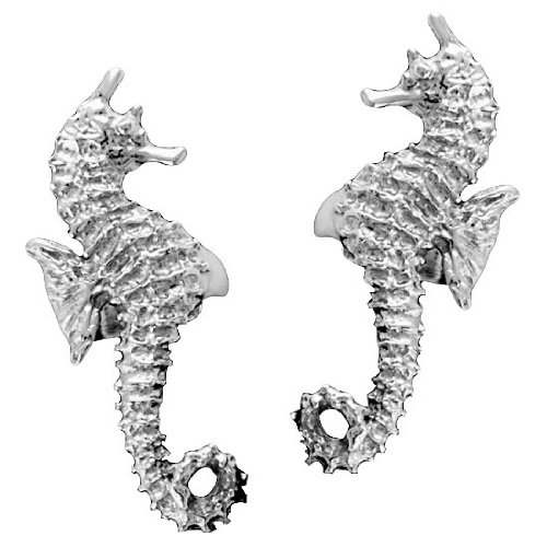 Left And Right Ocean Sea Horse Ear Cuff Set