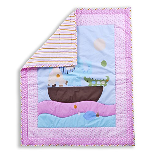 Dream On Me Sea Friends 5 Piece Reversible Portable Crib Bedding Set - 1