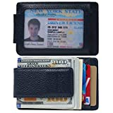 Money Clip, Front Pocket Wallet, Leather RFID Blocking Strong Magnet thin Wallet (OneSize, Dark Blue)
