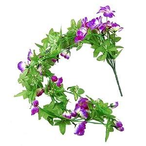 Green Leaves Purple flor artificial Planta Decoración Arreglos Boda