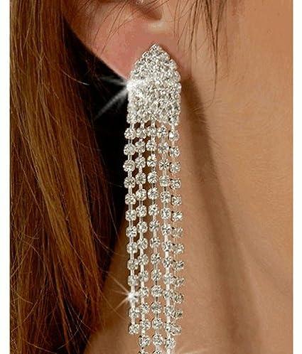 Clip on Rhinestone Dangle Earrings High Drama Best 5 Strand Multi Row Movie Star Glamour