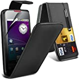 (Black) Samsung Galaxy Spica i5700 Protective Faux Leather Debit/Credit Card Slot Flip Case Cover Skin, Retractable Capacative Touch Screen Stylus Pen & Screen Protector Guard By *Aventus*