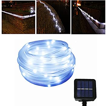 JulyFire White 50 LED 16.5 Foot Solar Powered Rope String Garden Light, for Indoor/Outdoor