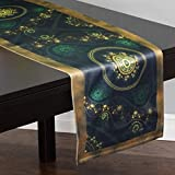 Lushomes Digital Printed Green Themed Polyester Table Runner