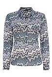 Roman Originals - Women's Zig Zag Burnout Jersey Shirt - Plus Size Tops Plus Size Clothes Clothing Ladieswear Womenswear - Ladies Tops Multi Green Blue Size 18