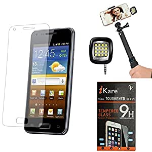 iKare Pack of 9 Tempered Glass for Apple iphone 4 4S + 3.5mm Continuous LED Spotlight Flash