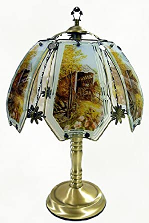 Covered Bridge Touch Lamp with Antique Brass Finish