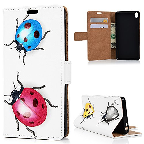 Sony Xperia E5 Custodia Pelle Folio Wallet - MAXFE.CO Morbido Libro PU Leather Magnetico Flip Stand Cover Protettiva Portafoglio,ID Slot per Scheda,Chiusura Magnetica,coccinella