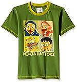 Ninja Hattori Boys' T-Shirt (HST-2127_Green_3 - 4 years)