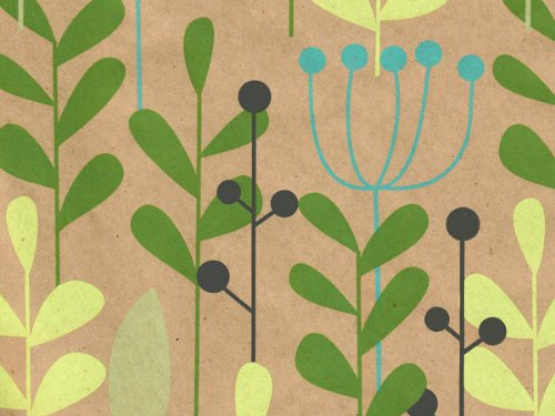 LEAVES & BERRIES Kraft 24x833Recycled Gift Wrap Full Ream Roll (1 unit 1 pack per unit.)