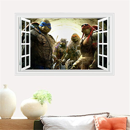 Fangeplus(TM) The New 3D Teenage Mutant Ninja Turtles Window View DIY Removable Art Mural Vinyl Waterproof Wall Stickers Kids Room Decor Nursery Decal Sticker Wallpaper 35.4''x23.6''