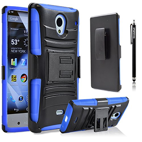 Sharp Aquos Crystal Case, Combo Rugged Shell Cover Holster with Built-in Kickstand and Holster Locking Belt Clip Blue + Circle(TM) Stylus Touch Screen Pen And Screen Protector (Sharp Crystal Phone Case compare prices)