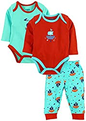 Snuggles Full Sleeve Bodysuit with Pant sailor ship print (Pack of 3) - Red Clay/Angle Blue (3-6M)