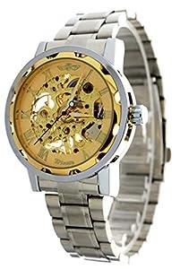 New Brand Mall Retro Golden Mens Skeleton Mechanical Stainless Steel Wrist Watch
