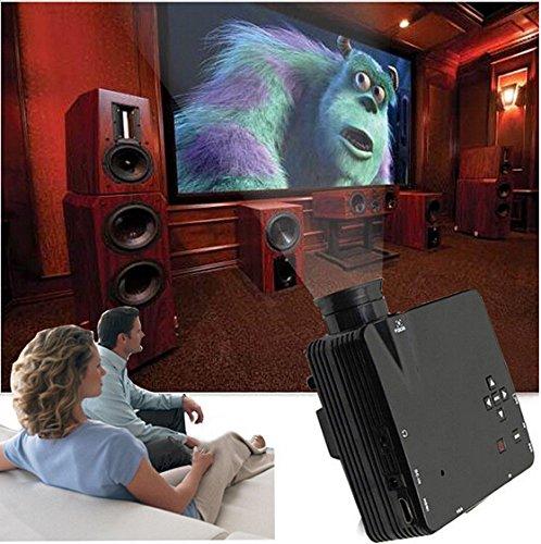 Aketek 1080P Led Protable Projector Hd Pc Av Vga Usb Hdmi(Black)