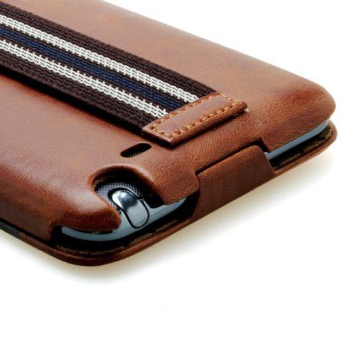 ZENUS Galaxy Note SC-05Dケース Masstige Stripe Folder ハンドホルダー付 レザー風ケース ブラウン Z987GNT
