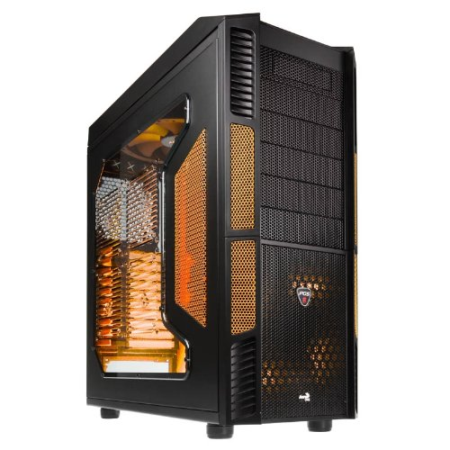 Aerocool X-Predator Evil Full Tower Gaming Case with No PSU and Orange LED Fans - Black