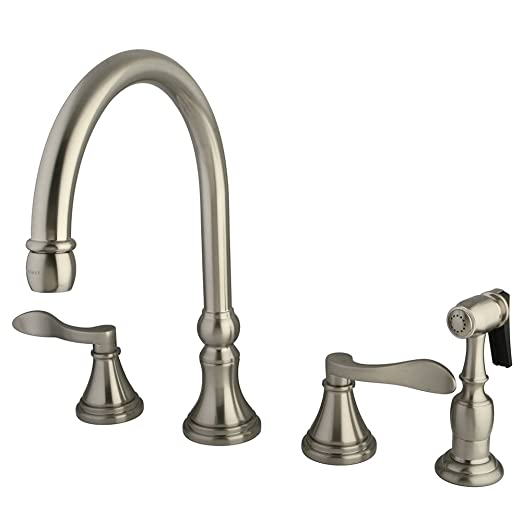 Kingston Brass KS2798DFLBS NuFrench Deck Mount Kitchen Faucet with Brass Sprayer, 8-Inch, Satin Nickel