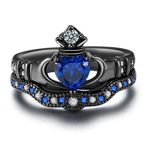 Zealmer Black Gold Plated Cubic Zirconia CZ Blue Sapphire Heart Cut Bridal Crown Claddagh Ring 7