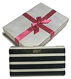 Kate Spade Brightwater Drive Stacy Clutch Wallet Saffiano WLRU2249 with Gift Box (Black/White Stripes)