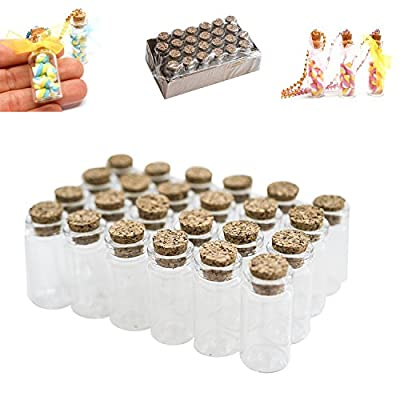 "Mini Clear Glass Jars Bottles with Cork Stoppers for Arts & Crafts, Projects, Decoration, Party Favors - Size: 1-1/2"" Tall X 3/4 Inches Diameter (24 Pack) by Super Z Outlet®"