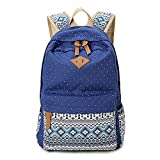 Gintan Exotic Style Canvas Polka-Dot Print Casual Daypack College Student Satchels, Navy