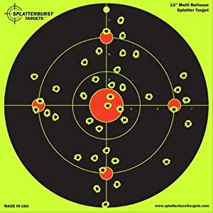 "50 Pack - 12"" Multi Bullseye Splatterburst Target - Instantly See Your Shots Burst Bright Florescent Yellow Upon Impact!"