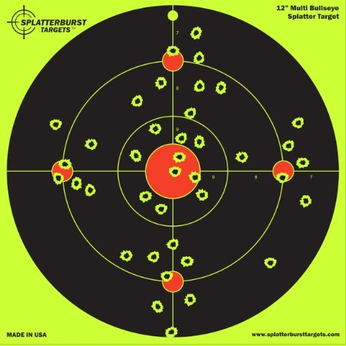 "25 Pack - 12"" Multi Bullseye Splatterburst Target - Instantly See Your Shots Burst Bright Florescent Yellow Upon Impact!"