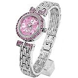 Disney ディズニー オーラ ミニー 腕時計 シルバーベルト×ピンク文字盤 スワロフスキー ライセンス取得商品 銀 [並行輸入品] [時計]