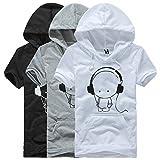 (Anotogaster) Tシャツ 半袖 パーカー フード ポケット付 かわいいキャラクター (ライトグレー XL)