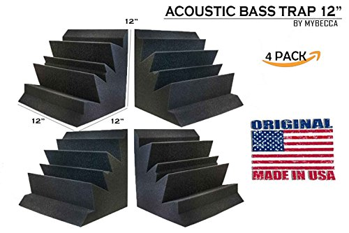 [Mybecca] 4 PACK Acoustic Bass Trap for Low Frequency Waves Studio Soundproofing, 12 X 12 X 12