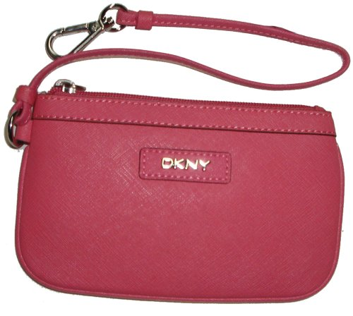 DKNY DKNY Women's Saffiano Leather Change Purse Wristlet, Coral