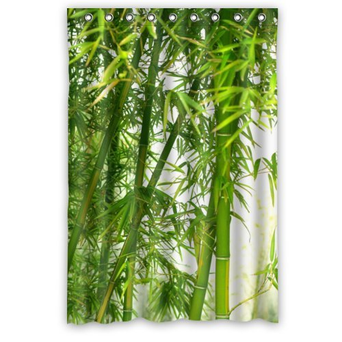 Durable Elegant Green Bamboo Theme 100% Polyester Waterproof Shower Curtain, Shower Rings Included 48
