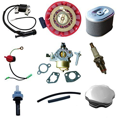 TUNE UP KIT FOR HONDA GX340 11HP & GX390 13HP CARBURETOR RECOIL IGNITION COIL SPARK PLUG AIR FILTER GAS CAP (Gas Ignition Kit compare prices)