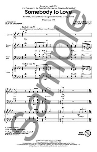 Queen: Somebody To Love (Glee) - SATB - Partitions