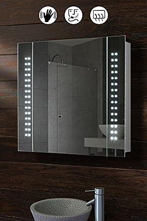 MY-Furniture GALACTIC Armadietto a specchio / Mobile specchiera bagno illuminato da 60 LED, a sensore, Anti-Appannamento e per Rasoio