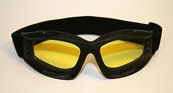 Données de base   Lunettes de moto noir, lentilles teinté en jaune, monture  de lunettes noir, SBR caoutchouc 4b5d215e04c0