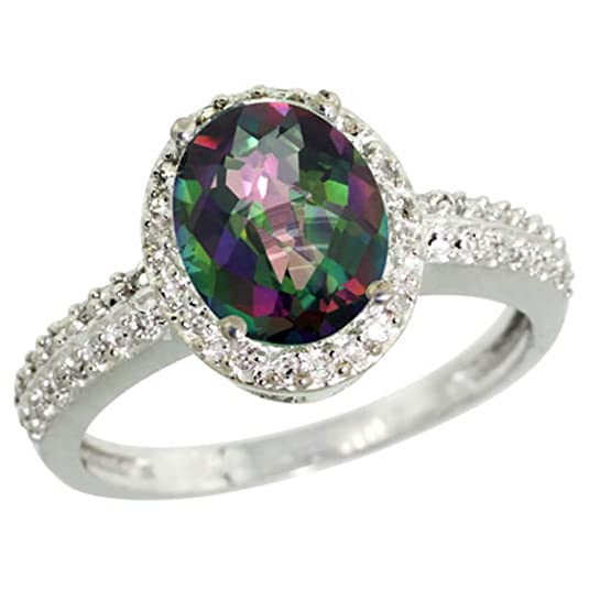 Revoni Sterling Silver Mystic Topaz And Diamond Ring, Oval Stone (9x7 mm)