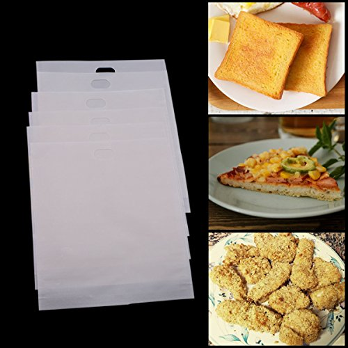 Vi 7.5 Inch Reusable Toaster Bags Non Stick Tostbags for Toaster, Oven, Microwave, Pack of 6