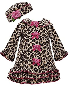 Bonnie Baby-girls Newborn Leopard Fleece Coat And Hat Set BR0CH, Brown